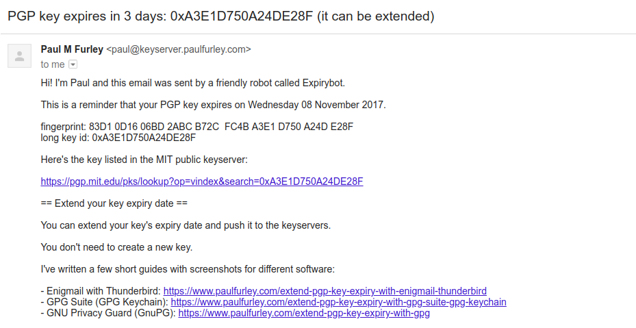 Expirybot emails PGP users before their key expires