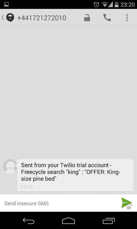 SMS alert received from a Freecycle email