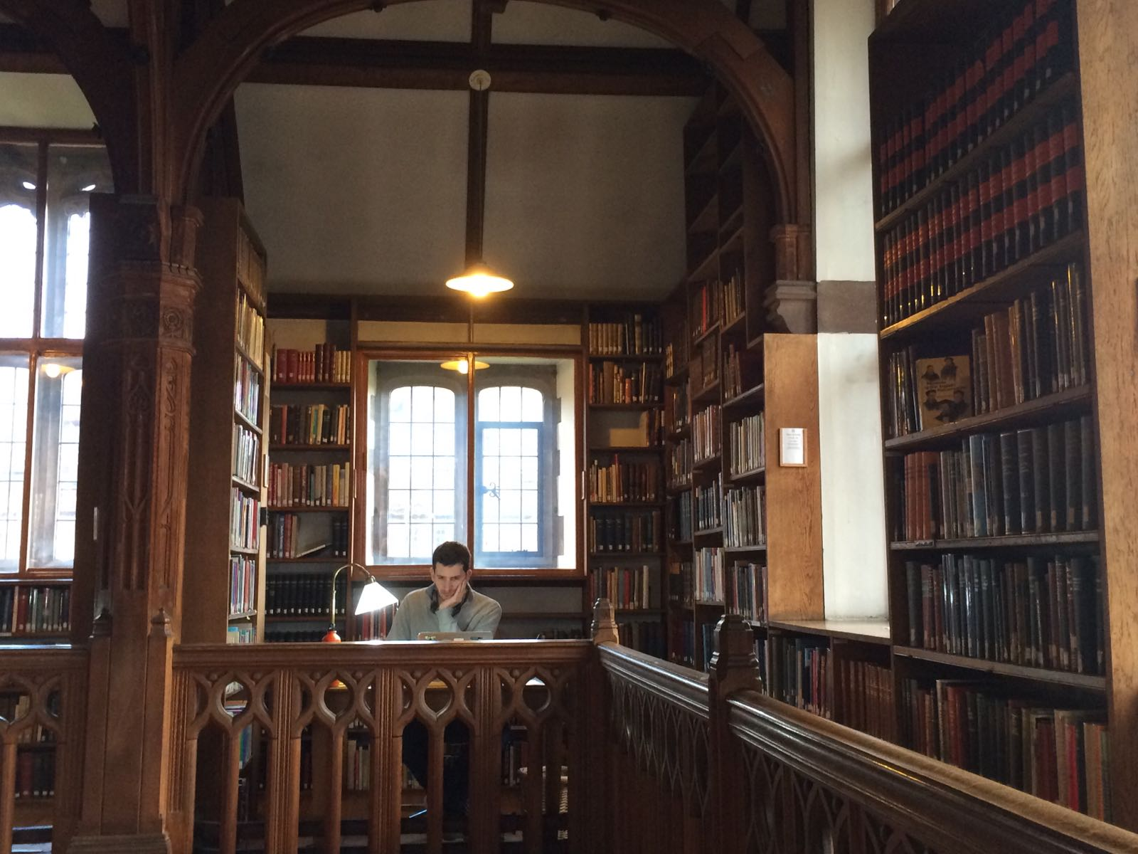 Paul looking thoughtful in Gladstone's library