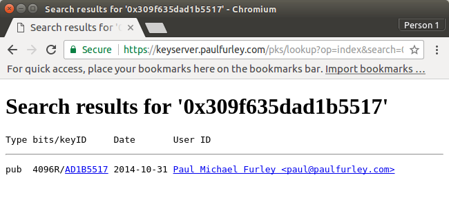 Screenshot of a search result from my PGP keyserver