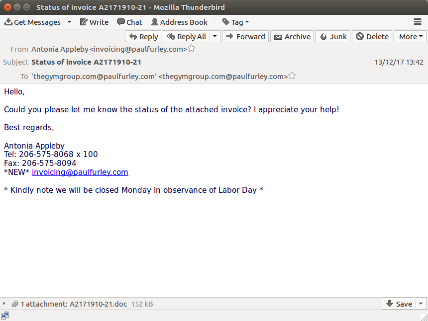 Screenshot of an email containing a dangerous attachment