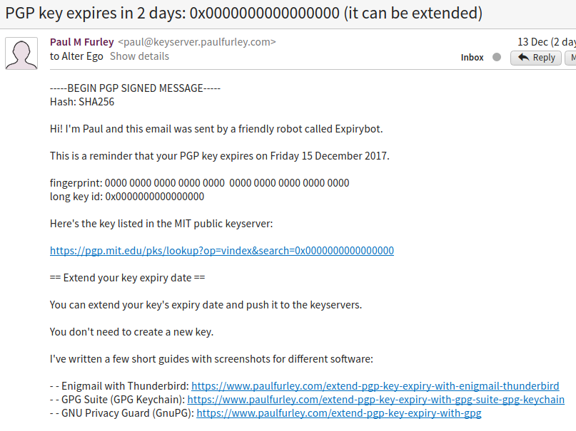 Expirybot email signed with GPG