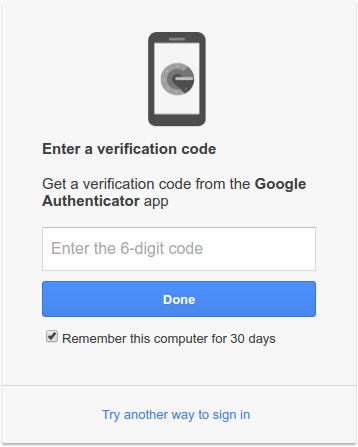 Two-factor authentication login screen