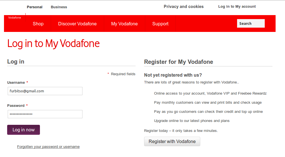 Vodafone online login screen